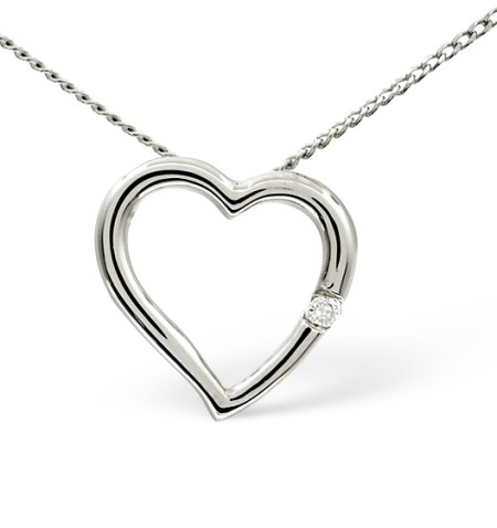 HEART PENDANT 0.03CT DIAMOND 9K WHITE GOLD - Graduation Gifts