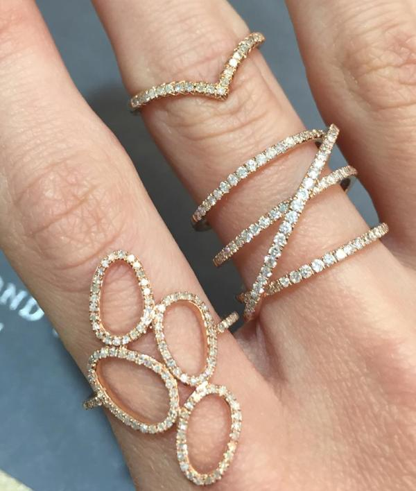 Rose gold diamond statement fashion rings - Summer 2016 Jewellery
