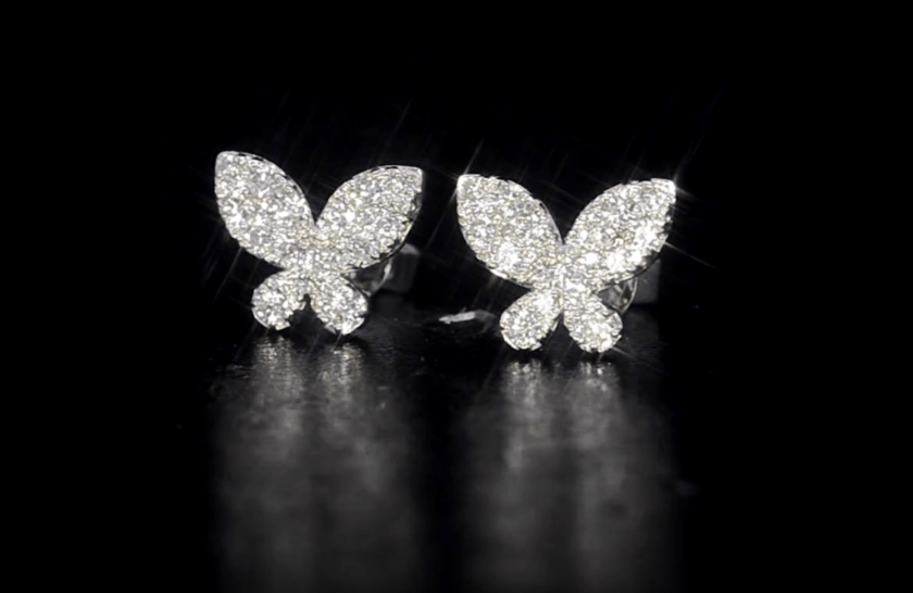 ATHENA DIAMOND DROP EARRINGS BUTTERFLY DESIGN MULTI WEAR 1.09CT 18K WHITE GOLD - P3499