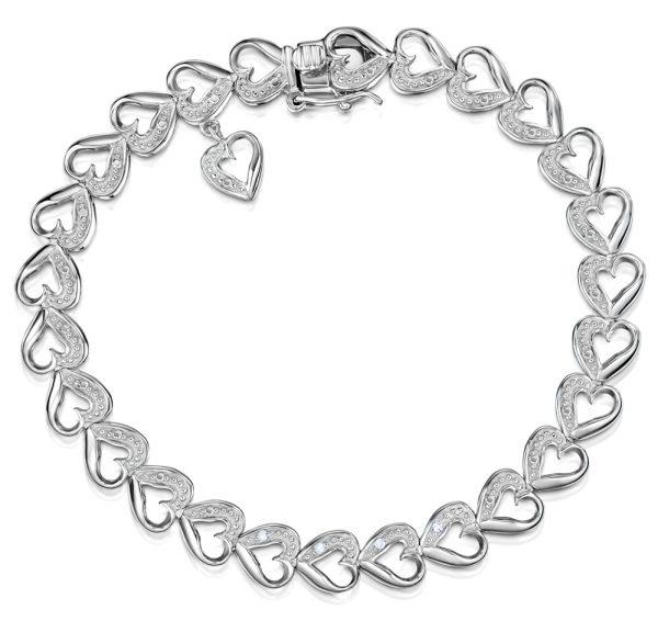 DIAMOND SILVER HEART BRACELET - Graduation Gifts