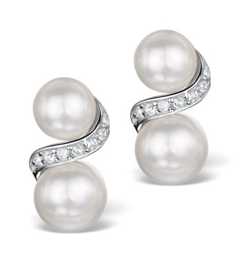 PEARL AND WHITE TOPAZ TWIST EARRINGS IN STERLING SILVER