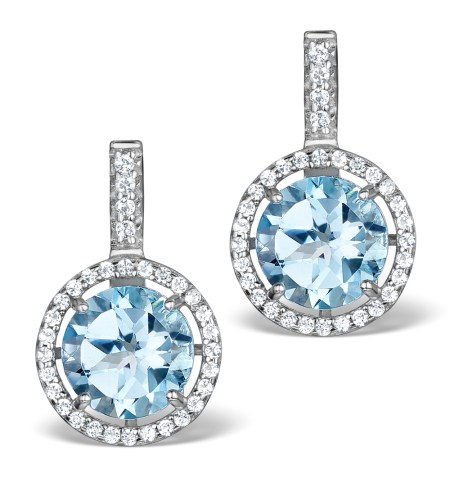 BLUE TOPAZ AND WHITE TOPAZ EARRINGS IN STERLING SILVER - Graduation Gifts