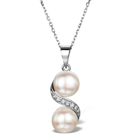 PEARL AND WHITE TOPAZ TWIST NECKLACE IN STERLING SILVER - Graduation Gifts