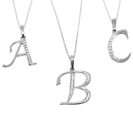 WHITE GOLD DIAMOND INITIAL 'A' PENDANT - Graduation Gifts
