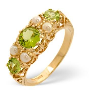 peridot and pearl ring