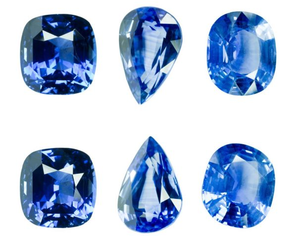 sapphire colours - blue sapphires in varying shades from light to dark