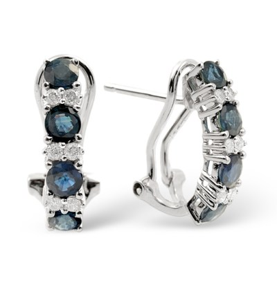 best sapphire jewellery - SAPPHIRE 1.45CT AND DIAMOND 9K WHITE GOLD EARRINGS