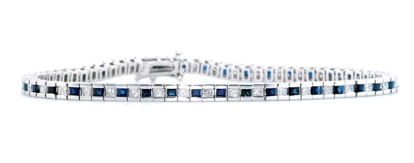 best sapphire jewellery - SAPPHIRE AND 1.75CT DIAMOND BRACELET 18KW