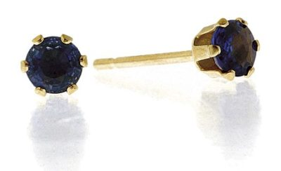 best sapphire jewellery - SAPPHIRE 3MM 9K YELLOW GOLD EARRINGS