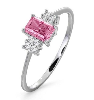 best sapphire jewellery - 9K WHITE GOLD DIAMOND PINK SAPPHIRE RING 0.06CT