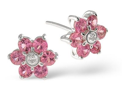 best sapphire jewellery - PINK SAPPHIRE 0.78CT AND DIAMOND 9K WHITE GOLD EARRINGS