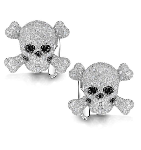 Halloween jewellery - diamond skull cufflinks