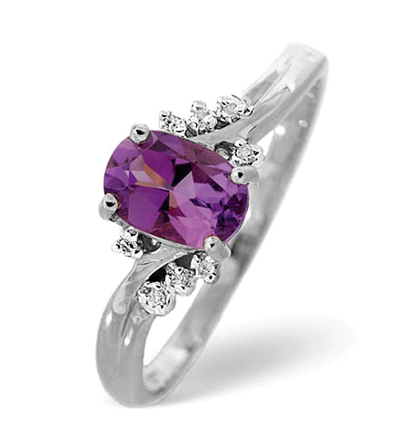 Amethyst Ring 0.68CT with diamonds