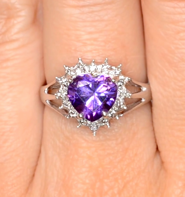 Amethyst heart shaped ring for Valentine's