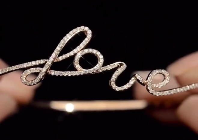 Diamond and rose gold L-O-V-E bangle | TheDiamondStore.co.uk