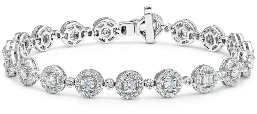 DIAMOND HALO BRACELET 6.78CT IN 18K WHITE GOLD - ASTERIA COLLECTION - H1143_01