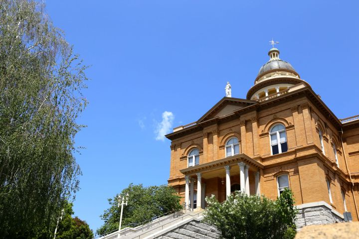 Exterior of the Placer County Courthouse, towering over old town Auburn.
