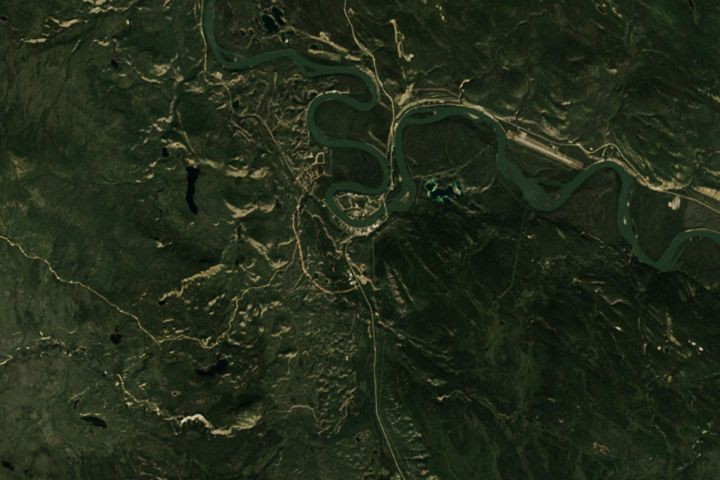 Satellite map view of the Carmacks Mine in the Yukon, Canada mined by the Dodge crew over Season 4 of the Gold Rush reality TV series from Discovery Channel.