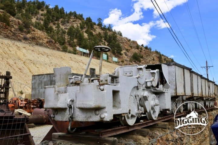 Electric locomotive and ore cars at the Argo Gold Mine & Mill, Idaho Springs, Colorado