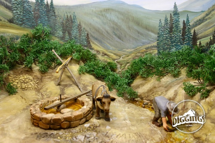 Ox & arrastra diorama at the National Mining Hall of Fame & Museum