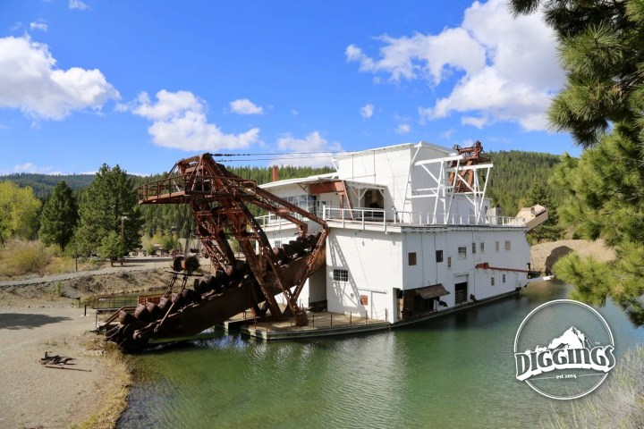 First view of the dredge at the Sumpter Valley Dredge State Heritage Area