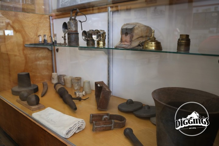 Assaying crucibles, lanterns, and assorted mining artifacts at the Sumpter Museum And Public Library