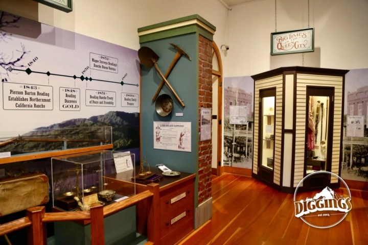 Mining artifacts on display inside the Courthouse Museum at the Shasta State Historic Park