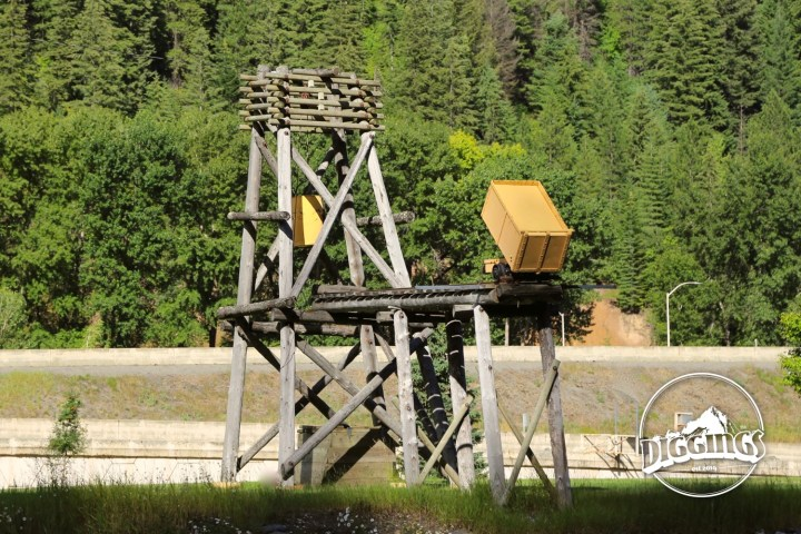 Ore cart and head frame at the Wallace, Idaho Silver History Site