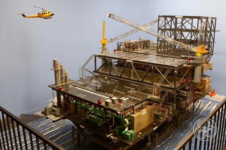 Offshore oil platform diorama.