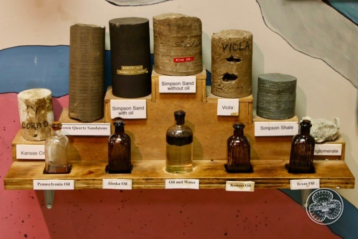 Core and crude samples at the Classic Rig at the Kansas Oil Museum