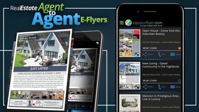 Zip Your Flyer E-Flyer, E-Flyer App, MLS Hot Sheets, real estate agents, map the property, virtual tours, Free App, real estate agents