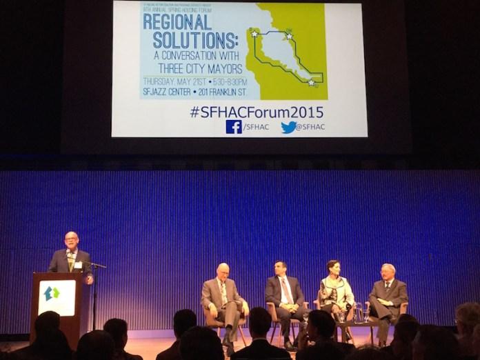 From left: Tim Colen, SF Housing Action Coalition; Gabriel Metcalf, SPUR; Mayor Sam Liccardo; Mayor Libby Schaaf; Mayor Ed Lee