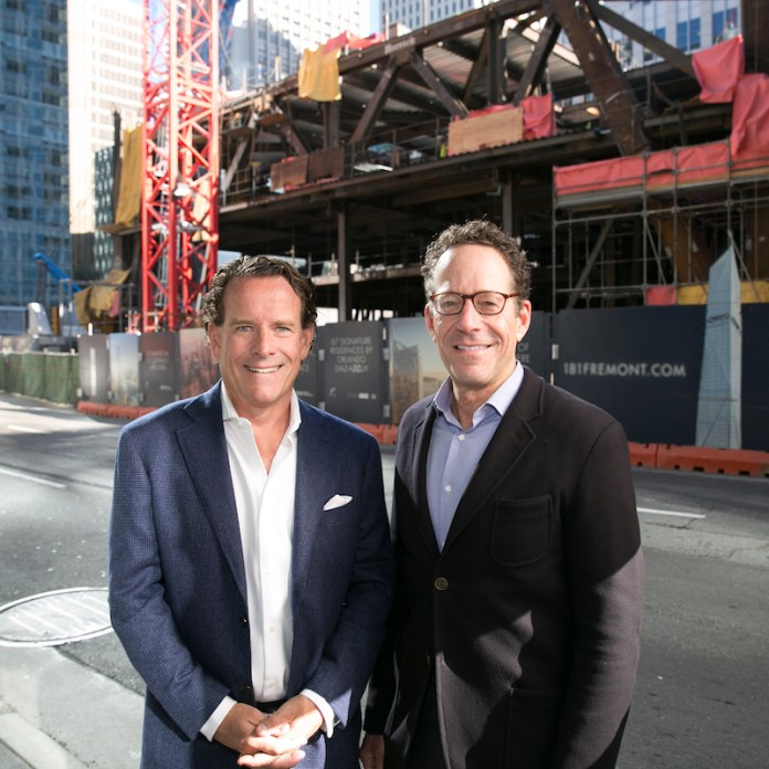 Pacific Union CEO Mark A. McLaughlin and The Mark Company President, Alan P. Mark, at the site of 181 Fremont Residences in San Francisco