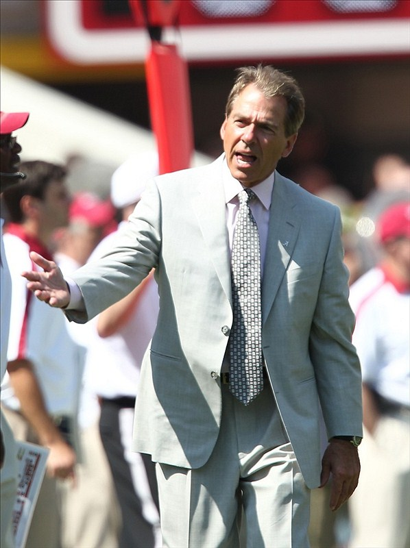 Alabama Crimson Tide head coach Nick Saban during the spring game at Bryant Denny Stadium. Mandatory Credit: Marvin Gentry-US PRESSWIRE