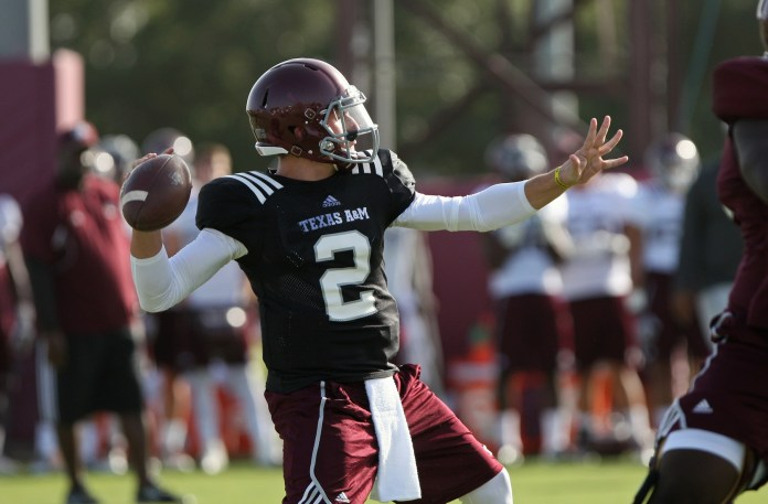 Texas A&M Aggies quarterback Johnny Manziel (2) practices at Coolidge Field. Mandatory Credit: Troy Taormina-USA TODAY Sports