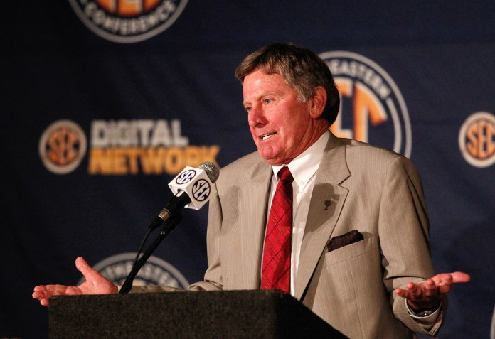 South Carolina Gamecocks head coach Steve Spurrier talks with the media during the 2013 SEC football media days at the Hyatt Regency. Mandatory Credit: Marvin Gentry-USA TODAY Sports