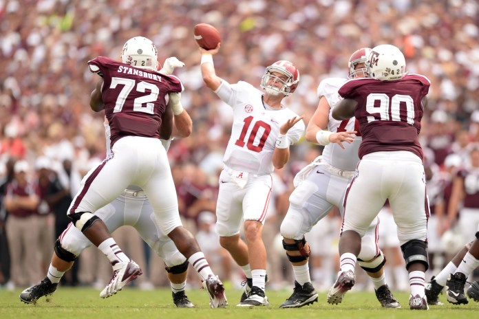 Sep 14, 2013; College Station, TX, USA; Alabama Crimson Tide quarterback A.J. McCarron (10) passes against the Texas A&M Aggies during the first half at Kyle Field. Photo Credit: Thomas Campbell-USA TODAY Sports