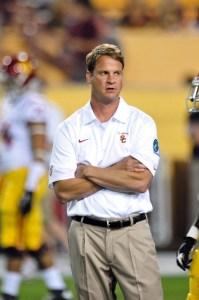 Sep 28, 2013; Tempe, AZ, USA; USC Trojans head coach Lane Kiffin looks on prior to the game against the Arizona State Sun Devils at Sun Devil Stadium. Mandatory Credit: Matt Kartozian-USA TODAY Sports