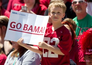 Apr 19, 2014; Tuscaloosa, AL, USA; A young Alabama Crimson Tide fan during the A-Day game at Bryant-Denny Stadium. Mandatory Credit: Marvin Gentry-USA TODAY Sports