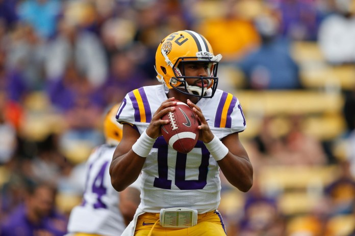 Apr 5, 2014; Baton Rouge, LA, USA; LSU Tigers quarterback Anthony Jennings (10) during the 2014 spring game at Tiger Stadium. Mandatory Credit: Derick E. Hingle-USA TODAY Sports