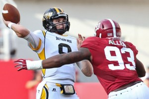 Sep 13, 2014; Tuscaloosa, AL, USA; Alabama Crimson Tide defensive lineman Jonathan Allen (93) put the pressure on Southern Miss Golden Eagles quarterback Nick Mullens (9) at Bryant-Denny Stadium. Mandatory Credit: Marvin Gentry-USA TODAY Sports