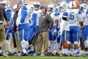 Nov 15, 2014; Knoxville, TN, USA; Kentucky Wildcats head coach Mark Stoops during the first half against the Tennessee Volunteers at Neyland Stadium. Mandatory Credit: Randy Sartin-USA TODAY Sports