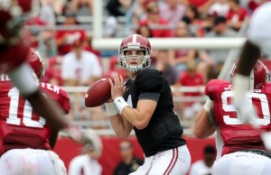 Apr 18, 2015; Tuscaloosa, AL, USA; Alabama Crimson Tide quarterback Jake Coker (14) drops back to pass against the crimson team during the annual A-day game at Bryant Denny Stadium. Mandatory Credit: Marvin Gentry-USA TODAY Sports