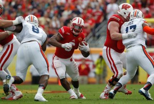 Jan 1, 2015; Tampa, FL, USA; Wisconsin Badgers running back Corey Clement (6) runs with the ball against the Auburn Tigers during the first half in the 2015 Outback Bowl at Raymond James Stadium. Mandatory Credit: Kim Klement-USA TODAY Sports