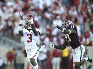 Oct 17, 2015; College Station, TX, USA; Alabama Crimson Tide wide receiver Calvin Ridley (3) makes a reception during the third quarter as Texas A&M Aggies defensive back Brandon Williams (21) defends at Kyle Field. The Crimson Tide defeated the Aggies 41-23. Mandatory Credit: Troy Taormina-USA TODAY Sports
