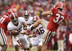 Oct 3, 2015; Athens, GA, USA; Alabama Crimson Tide defensive back Minkah Fitzpatrick (29) blocks a punt by Georgia Bulldogs punter Collin Barber (32) for a touchdown during the second quarter at Sanford Stadium. Mandatory Credit: Dale Zanine-USA TODAY Sports