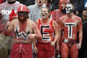 """Oct 3, 2015; Athens, GA, USA; Fans spell out the word """"wet"""" with body paint during the second quarter between the Georgia Bulldogs and the Alabama Crimson Tide at Sanford Stadium. Mandatory Credit: John David Mercer-USA TODAY Sports"""