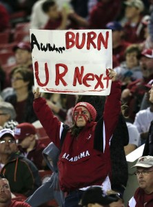 Nov 21, 2015; Tuscaloosa, AL, USA; Alabama Crimson Tide fan holds up a sign referring to the Tides next opponent during the game against the Charleston Southern Buccaneers at Bryant-Denny Stadium. Mandatory Credit: Marvin Gentry-USA TODAY Sports