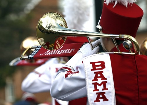 Jan 23, 2016; Tuscaloosa, AL, USA; The Million Dollar band performs during a parade to celebrate the victory in the CFP National Championship game at Bryant-Denny Stadium. Mandatory Credit: Butch Dill-USA TODAY Sports