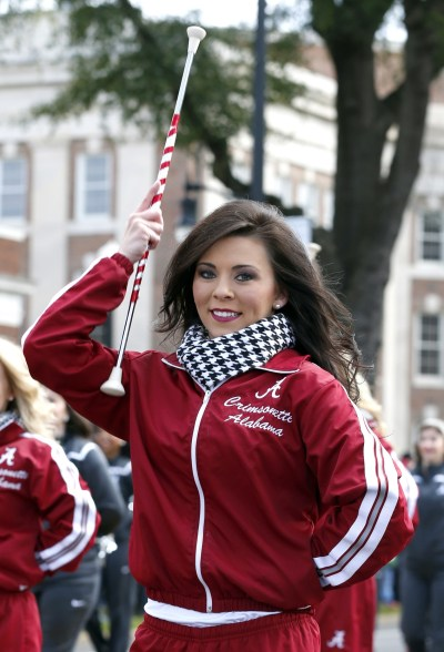 Jan 23, 2016; Tuscaloosa, AL, USA; A member of the Crimsonettes performs during a parade to celebrate the victory in the CFP National Championship game at Bryant-Denny Stadium. Mandatory Credit: Butch Dill-USA TODAY Sports